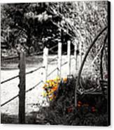 Fence Near The Garden Canvas Print by Julie Hamilton