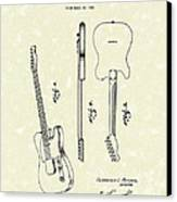 Fender Guitar 1951 Patent Art Canvas Print by Prior Art Design