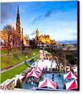 Festive Princes Street Gardens - Edinburgh Canvas Print by Mark E Tisdale