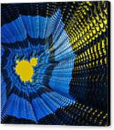 Field Of Force - Yellow Blue And Black Abstract Fractal Art Canvas Print by Matthias Hauser