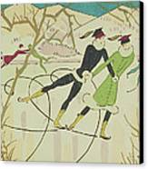 Figure Skating  Christmas Card Canvas Print by American School