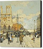 Figures On A Sunny Parisian Street Notre Dame At Left Canvas Print by Eugene Galien-Laloue