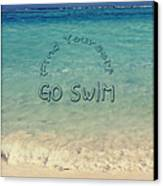 Find Yourself Go Swim Tropical Beach Motivational Quote Canvas Print by Beverly Claire Kaiya