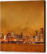 Fire In A Chicago Night Sky Canvas Print by Ken Smith
