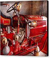 Fireman - Truck - Waiting For A Call Canvas Print by Mike Savad