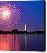 Fireworks Across The Potomac Canvas Print by Steven Barrows