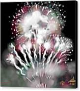 Fireworks On High School Hill Canvas Print by Jean Pacheco Ravinski