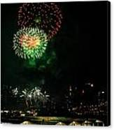 Fireworks Over Brooklyn Bridge And New York City Canvas Print by Diane Lent
