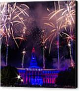 Fireworks Over Denver City And County Building Canvas Print by Teri Virbickis