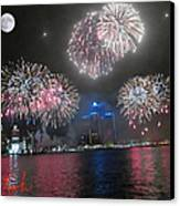Fireworks Over Detroit Canvas Print by Michael Rucker