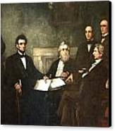 First Reading Of The Emancipation Proclamation Of President Lincoln Canvas Print by Georgia Fowler