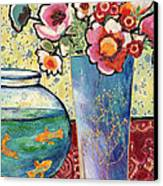 Fish Bowl And Posies Canvas Print by Diane Fine