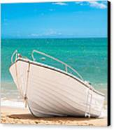 Fishing Boat On The Beach Algarve Portugal Canvas Print by Amanda And Christopher Elwell