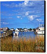 Fishing Boats At Dock Ocracoke Island Canvas Print by Thomas R Fletcher