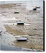 Fishing Boats At Low Tide Canvas Print by Olivier Le Queinec