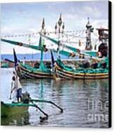 Fishing Boats In Bali Canvas Print by Louise Heusinkveld