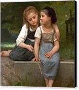 Fishing For Frogs Watercolor Version Canvas Print by William Bouguereau
