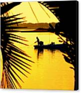 Fishing In Gold Canvas Print by Karen Wiles