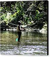 Fishing The Wissahickon Canvas Print by Bill Cannon