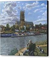 Fishing With Oscar - Doncaster Minster Canvas Print by Richard Harpum