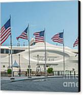 Five Us Flags Flying Proudly In Front Of The Megayacht Seafair - Miami - Florida Canvas Print by Ian Monk