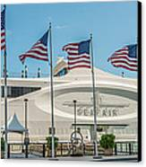 Five Us Flags Flying Proudly In Front Of The Megayacht Seafair - Miami - Florida - Panoramic Canvas Print by Ian Monk