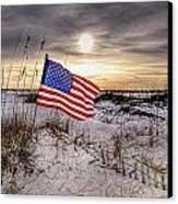 Flag On The Beach Canvas Print by Michael Thomas