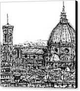 Florence Duomo In Ink  Canvas Print by Adendorff Design