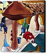 Flower Girl And Tile Roof Canvas Print by William Cain