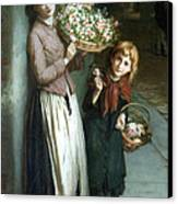 Flower Girls A Summer Night Canvas Print by Augustus Edwin Mulready