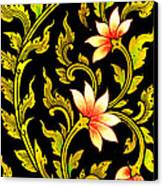 Flower Images Artistic From Thai Painting And Literature Canvas Print by Pakorn Kitpaiboolwat