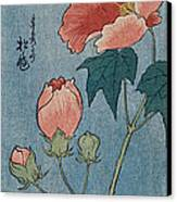 Flowering Poppies Tanzaku Canvas Print by Ando Hiroshige
