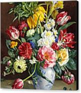 Flowers In A Blue And White Vase Canvas Print by R Klausner