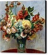Flowers In A Vase Canvas Print by Pierre-Auguste Renoir