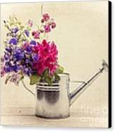 Flowers In Watering Can Canvas Print by Edward Fielding