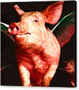 Flying Pigs V2 Canvas Print by Wingsdomain Art and Photography