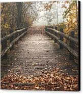 Foggy Lake Park Footbridge Canvas Print by Scott Norris