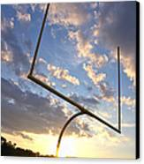 Football Goal At Sunset Canvas Print by Olivier Le Queinec