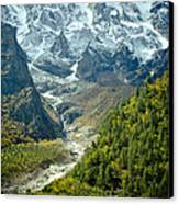 Forest And Mountains In Himalayas Canvas Print by Raimond Klavins