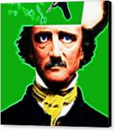 Forevermore - Edgar Allan Poe - Green - With Text Canvas Print by Wingsdomain Art and Photography