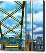 Fort Pitt Bridge And Downtown Pittsburgh Canvas Print by Thomas R Fletcher