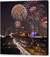 Fort Worth Skyline At Night Fireworks Color Evening Ft. Worth Texas Canvas Print by Jon Holiday