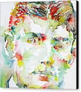 Franz Kafka Watercolor Portrait.2 Canvas Print by Fabrizio Cassetta