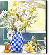 Freesias And Chequered Jug Canvas Print by Julia Rowntree