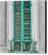 French Quarter Window In Green Canvas Print by Brenda Bryant