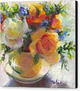 Fresh - Roses In Teacup Canvas Print by Talya Johnson