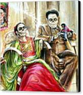 Frida And Diego With Pet Monkey Canvas Print by Heather Calderon