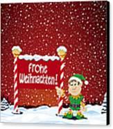 Frohe Weihnachten Sign Christmas Elf Winter Landscape Canvas Print by Frank Ramspott