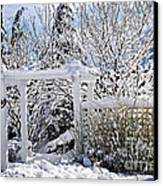 Front Yard Of A House In Winter Canvas Print by Elena Elisseeva