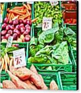 Fruit And Vegetable Stall Canvas Print by Tom Gowanlock
